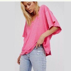 Free People Boyfriend Slub Raw Trim T-Shirt Top